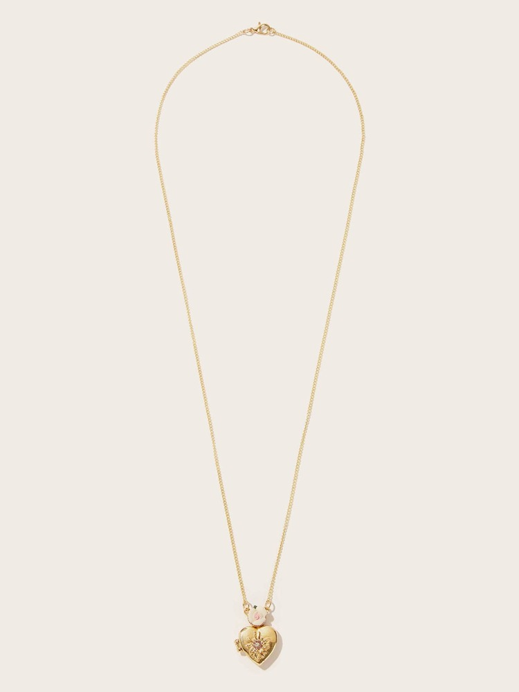 72a1773e3a Opened Heart Pendant Chain Necklace 1pc | SHEIN
