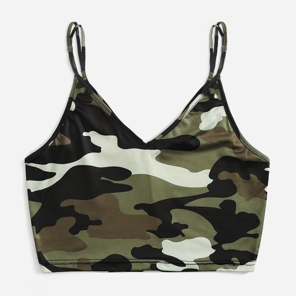 Plus Camo Print Cami Top