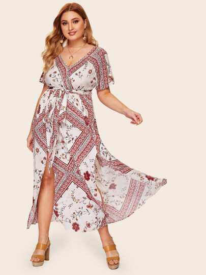 30fa6b993dc6 Plus Surplice Front Floral Print Split Belted Dress