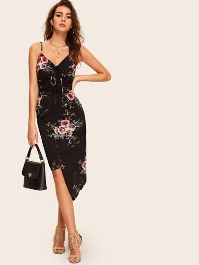 44529e338a53d9 Cami Kleid mit Blumenmuster und Kordelzug
