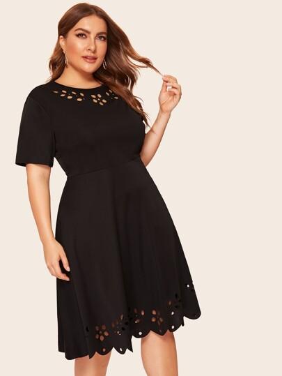 e76de46faa161 Plus Laser Cut Dress