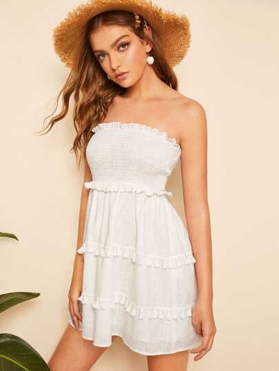1753d532ba4 Tassel Hem Frilled Trim Smocked Tube Dress