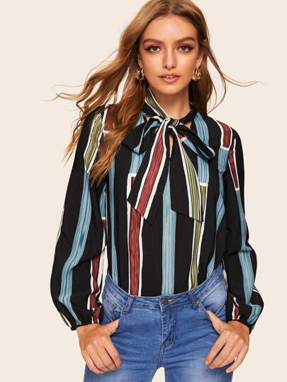98a46819e8d1c2 Tie Neck Striped Blouse