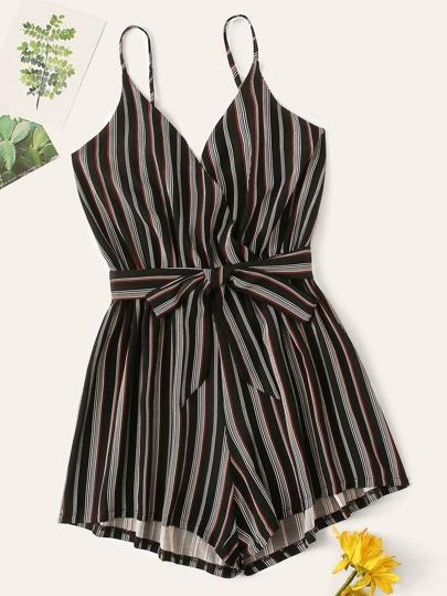 e6f5040497c9 Striped Belted Cami Playsuit