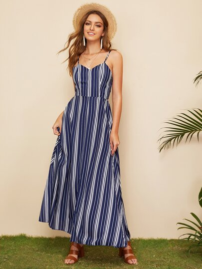fd50bd8b7a Striped Tie Back Cami Dress
