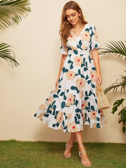 2667e6416b4 Surplice Floral Print Ruffle Hem Dress