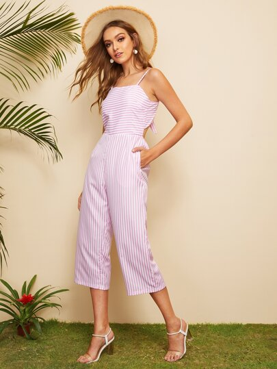 4608725cb85 Striped Tie Back Cami Jumpsuit