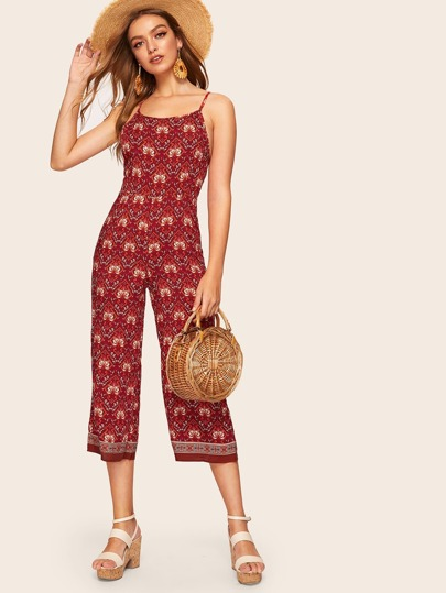 936ea958920c Open Back Tribal Print Cami Jumpsuit