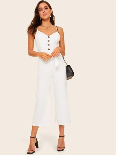 bbede3a23a3c 70s Self Tie Button Front Cami Jumpsuit