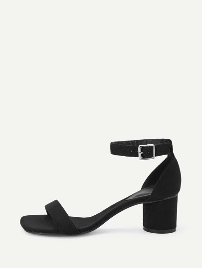 3806d2be0b0 Suede Ankle Strap Chunky Heels
