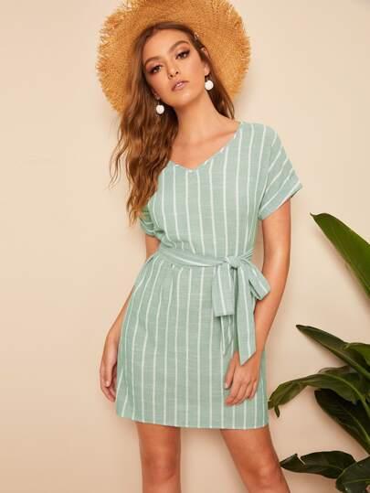 27dc39abc4 V Neck Vertical Striped Belted Dress
