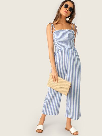 a7a5cfbdba0 Two Tone Knot Shoulder Frill Smocked Striped Jumpsuit