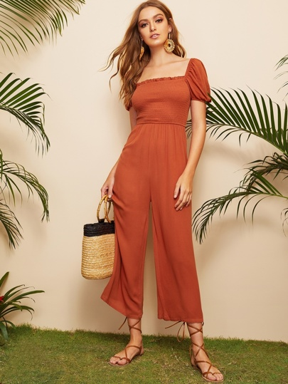 941a8c49128 Frill Trim Shirred Bodice Wide Leg Jumpsuit