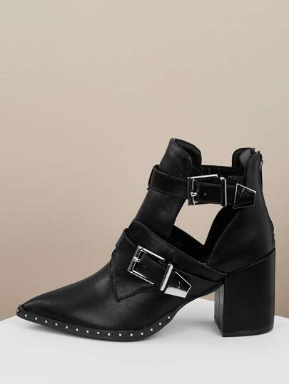 0b81dec3745 Double Buckle Pointed Toe Side Cut Out Booties