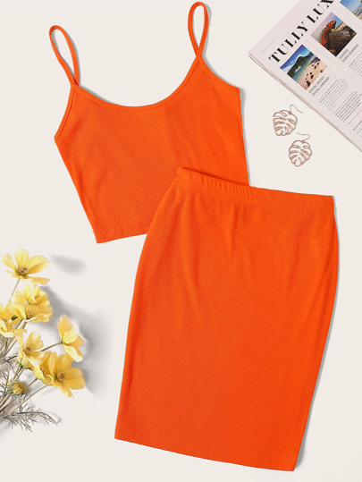 8f0eeb57fbadbe Neon Orange Rib-knit Crop Cami Top   Skinny Skirt Set