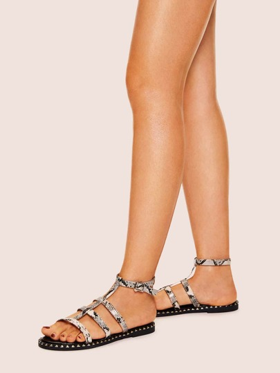 54ff22eb56d Snakeskin Pattern Cut Out Flat Sandals