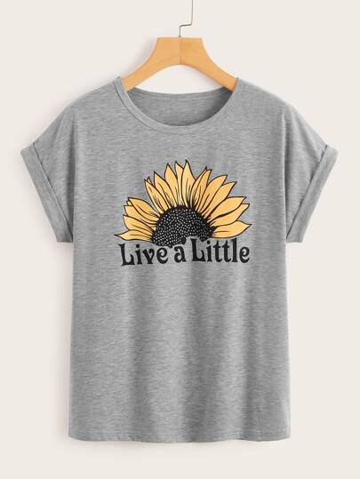 93d9dae5e9c2a8 Letter And Sunflower Print Tee