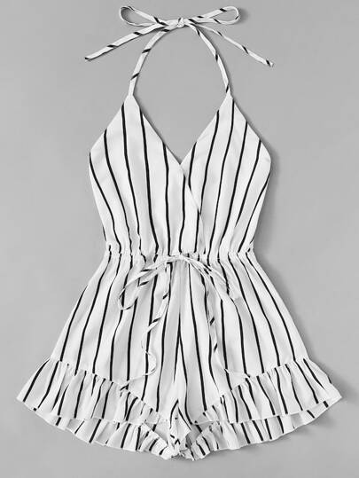 84ca867cb78 Plus Drawstring Waist Striped Cami Romper
