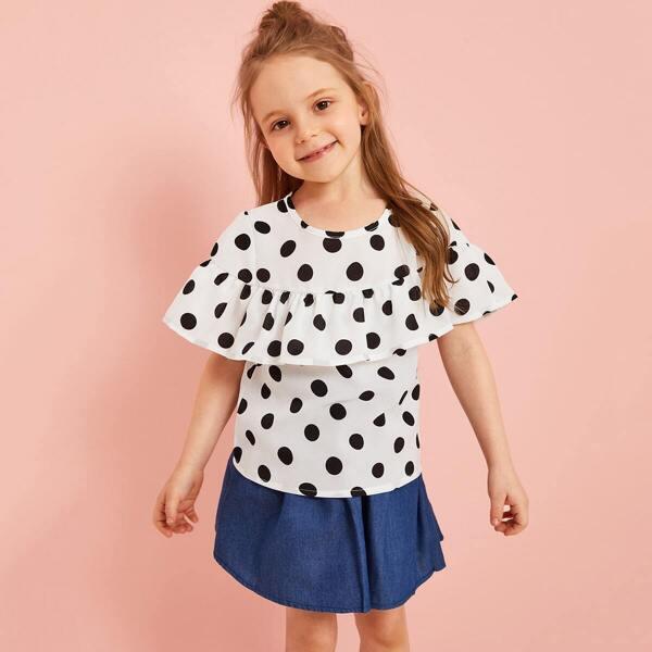 Toddler Girls Polka Dot Ruffle Keyhole Back Blouse, Black and white