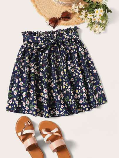 cac31927a03 Ditsy Floral Print Paperbag Waist Belted Skirt
