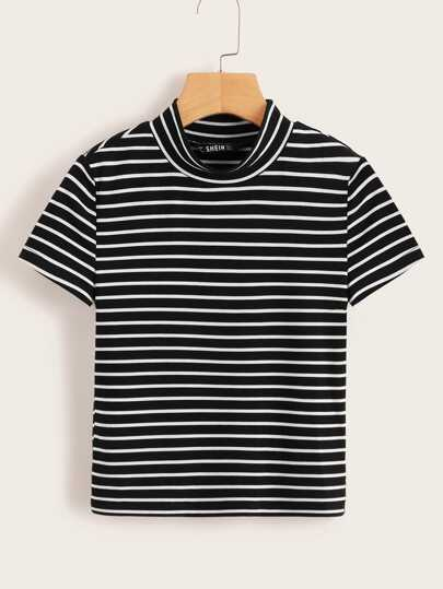 d35a6adadaf Mock-neck Form Fitted Striped Crop Tee