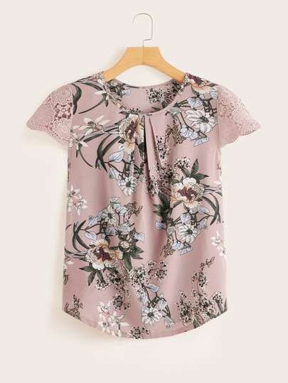 f486d68ca0bf Contrast Lace Cuff Floral Print Blouse