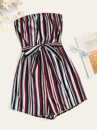 3525223d745c Striped Belted Tube Playsuit