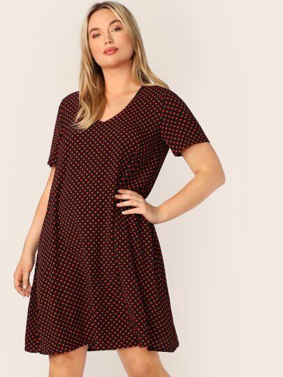2559a2a3be Plus Confetti Heart Print Trapeze Dress