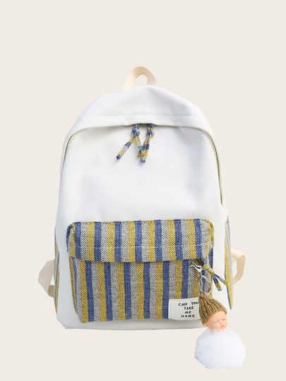 c2a47dbbe022 Striped Pocket Front Canvas Backpack