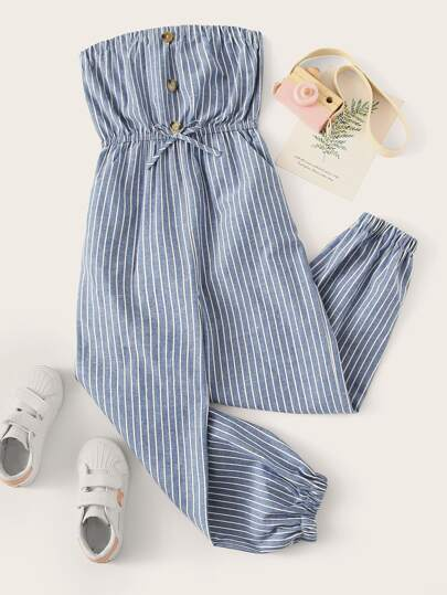 6b29bed4ff26 Girls Button Front Striped Bandeau Jumpsuit