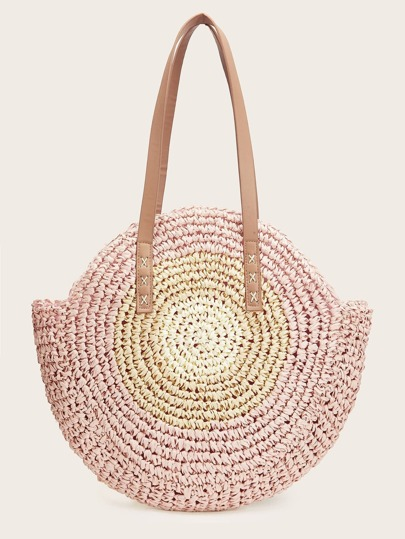 63a396c16274 Weave Detail Round Tote Bag