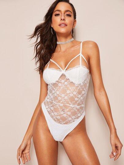 18b335df88 Floral Lace Harness Sheer Teddy Bodysuit