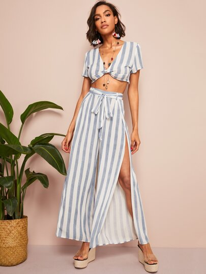 7502451557 Twist Front Striped Top   Split Thigh Belted Pants Set