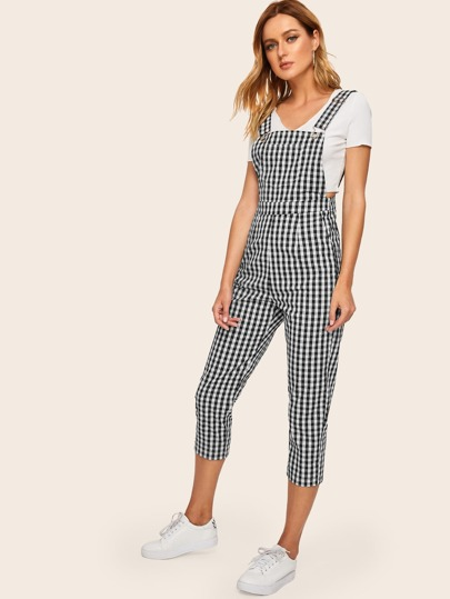 deb3a5f6723f Gingham Pocket Side Pinafore Jumpsuits