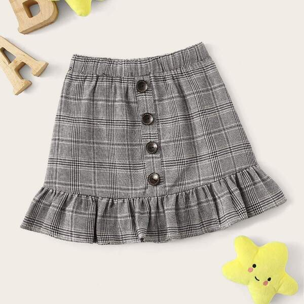 Toddler Girls Glen Check Ruffle Hem Button Skirt