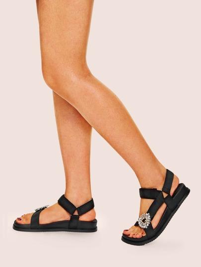 152b508006f00 Rhinestone Decor Flat Sandals