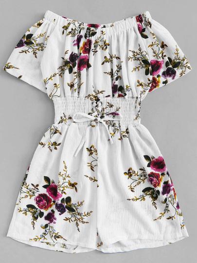 8f964c44fe19 Plus Lace-up Floral Print Romper