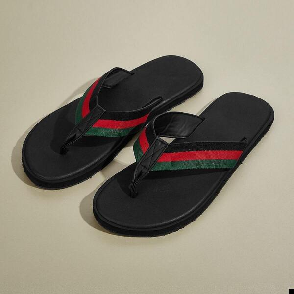 Men Striped Flip Flops