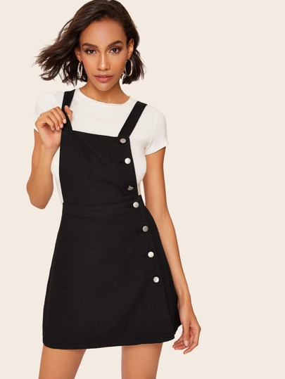 11363556bc Solid Button Front Pinafore Dress