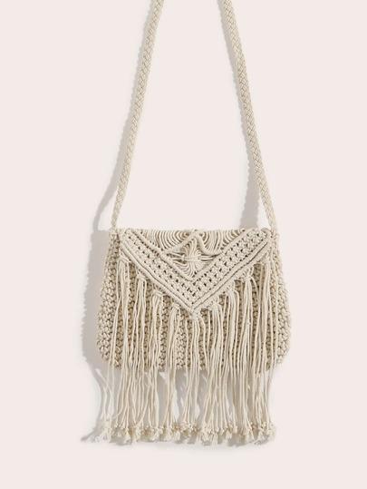 78f67d517975 Tassel Detail Weave Crossbody Bag