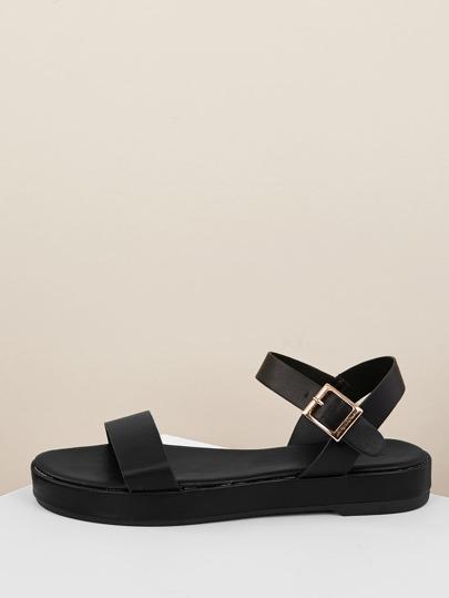 1e2bdb93c919 Solid Band Open Toe Buckled Strap Flatform Sandals