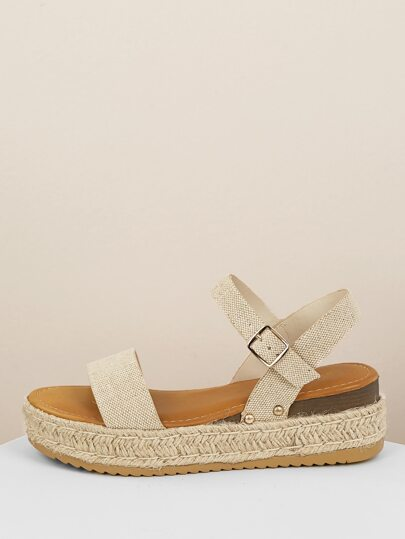 04392cb587ab Canvas Band Ankle Strap Jute Platform Sandals
