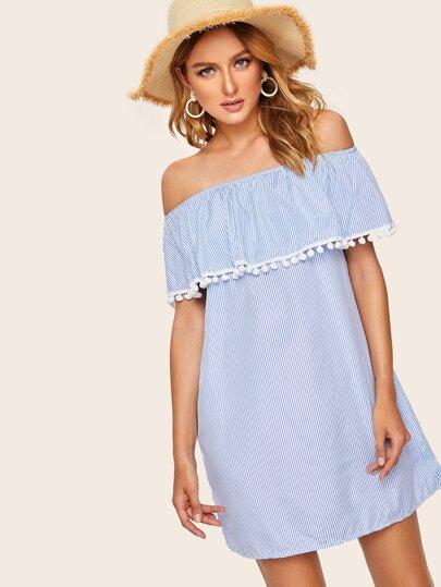 194667e299 Off Shoulder Striped Pom Pom Dress
