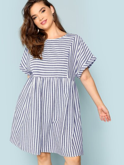 9cf74db4db2 Plus Rolled Up Sleeve Pocket Side Striped Dress