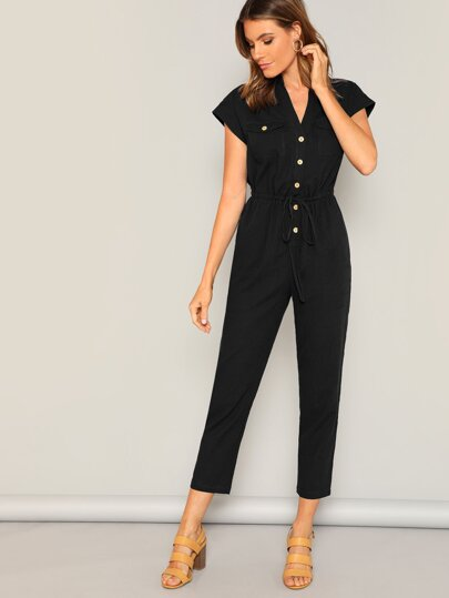dba609d6b337 Flap Pocket Front Drawstring Waist Shirt Jumpsuit