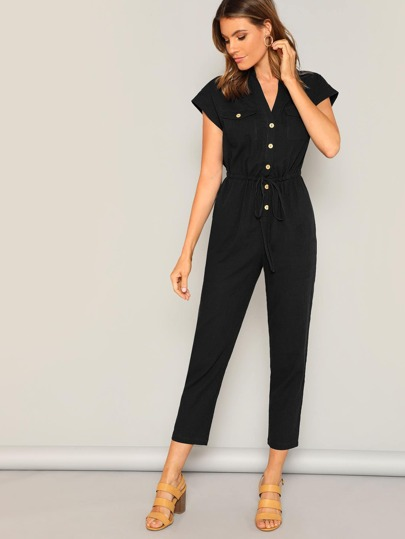 263259981f Flap Pocket Front Drawstring Waist Shirt Jumpsuit