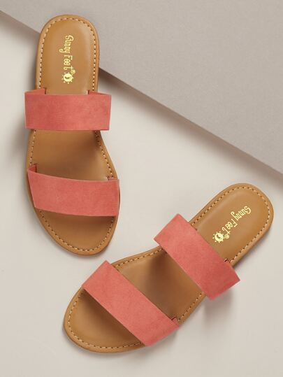 a35551676879 Twin Bands Open Toe Flat Slide Sandals