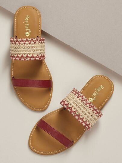 051e0daf4777 Basket Weave Twin Bands Open Toe Slide Sandals