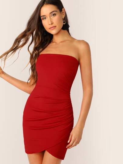 ca4394391e1 Ruched Detail Wrap Hem Bodycon Tube Dress