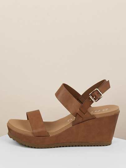9065ed5aa2c4d Thick Two Band Slingback Platform Wedges
